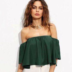 🥳 Flirty Off-The-Shoulder Crop Top emerald green!
